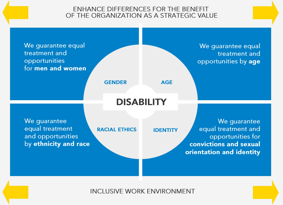 We promote differences for the benefit of the organization as a strategic value. We guarantee equal treatment and opportunities for both genders, as well as age by race or identity, fostering inclusive work.